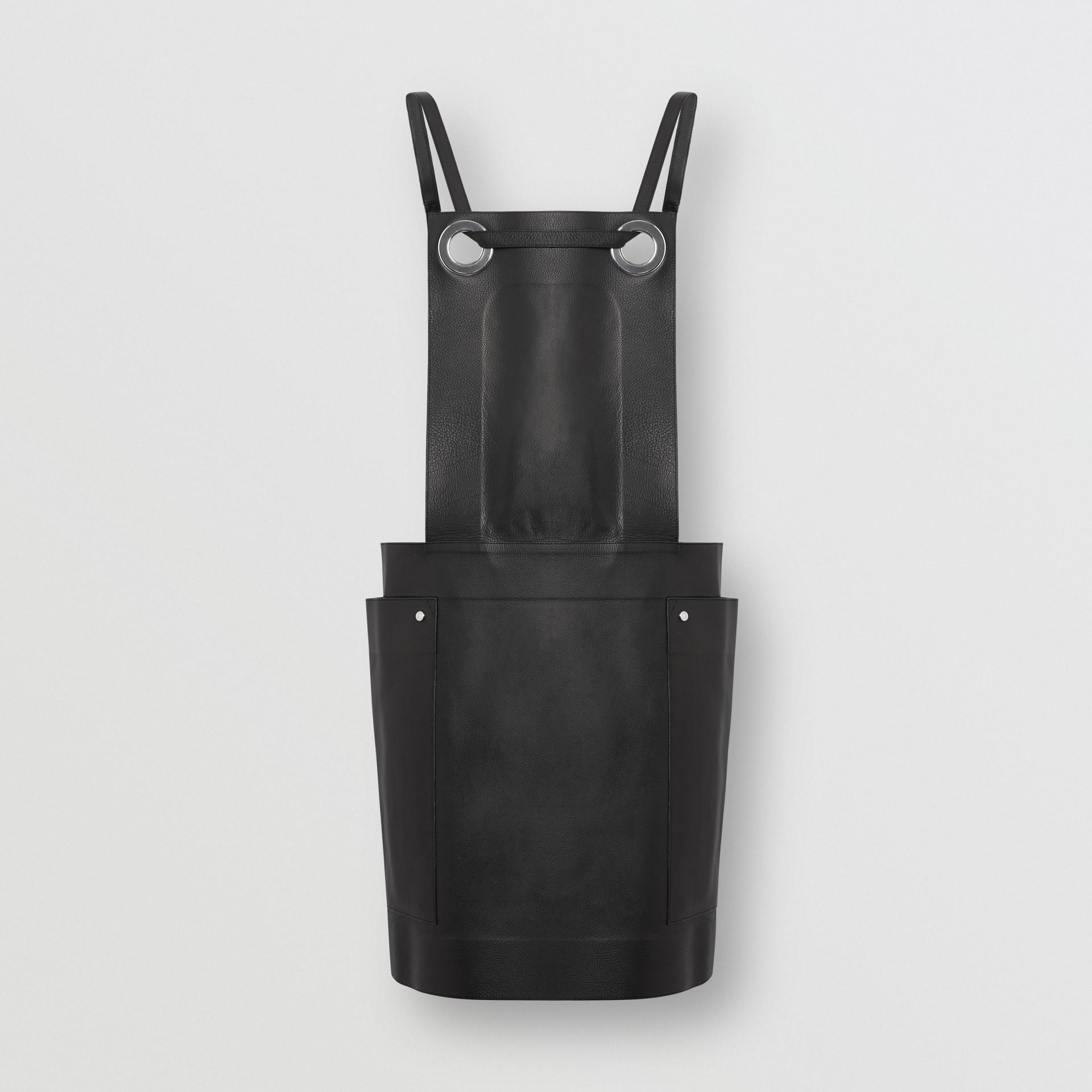 Eyelet Detail Leather Sleeveless Dress in Black - Women | Burberry - gallery image 3