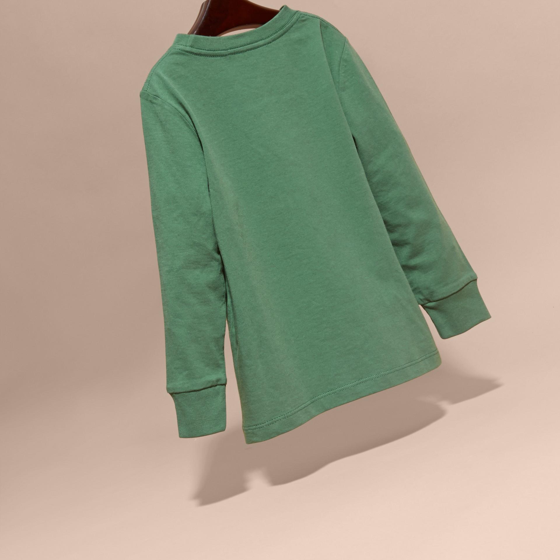Vert forêt Haut en jersey de coton avec poche à motif check Vert Forêt - photo de la galerie 4