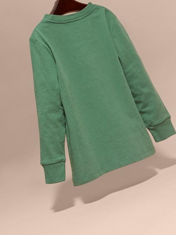 Vert forêt Haut en jersey de coton avec poche à motif check Vert Forêt - cell image 3