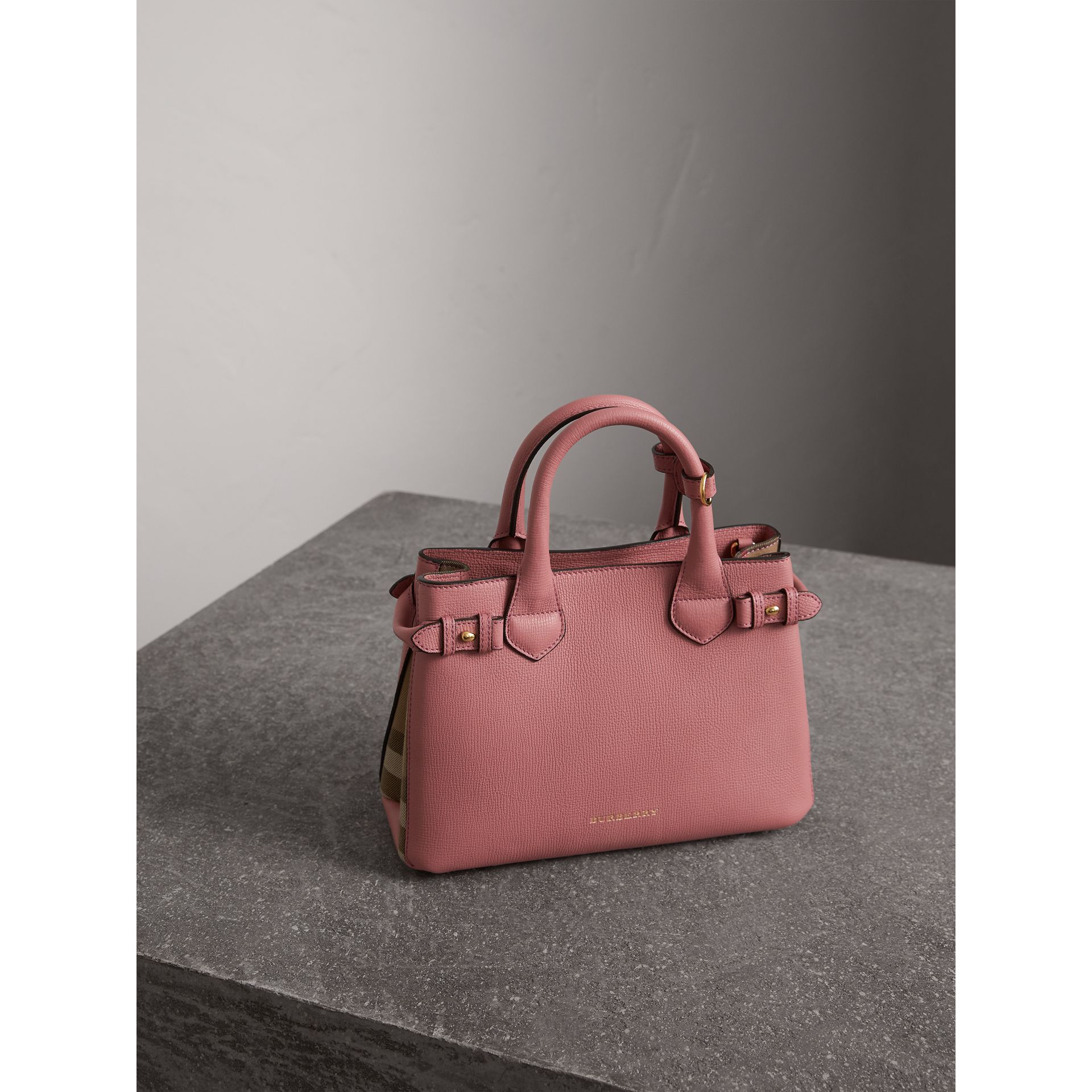The Small Banner in Leather and House Check in Mauve Pink - Women | Burberry - gallery image 7