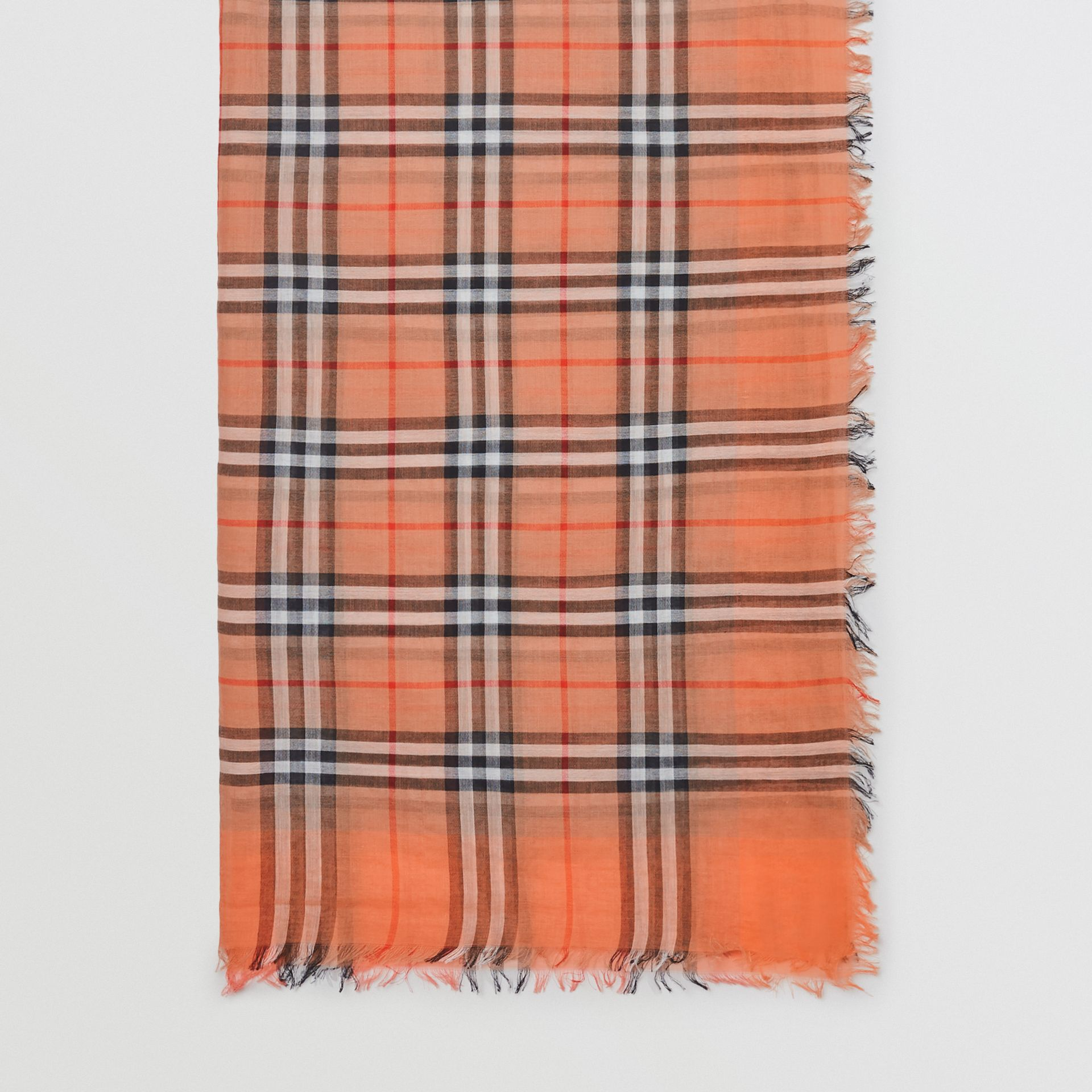 Two-tone Vintage Check Cotton Square Scarf in Coral Rose | Burberry United States - gallery image 4