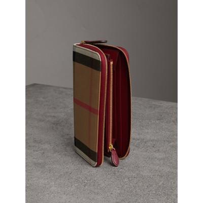 Burberry - Portefeuille zippé en tissu House check avec éléments en cuir - 4