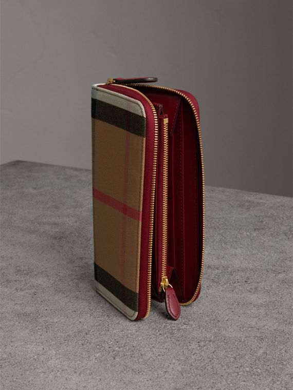 House Check and Leather Ziparound Wallet in Military Red - Women | Burberry Singapore - cell image 3