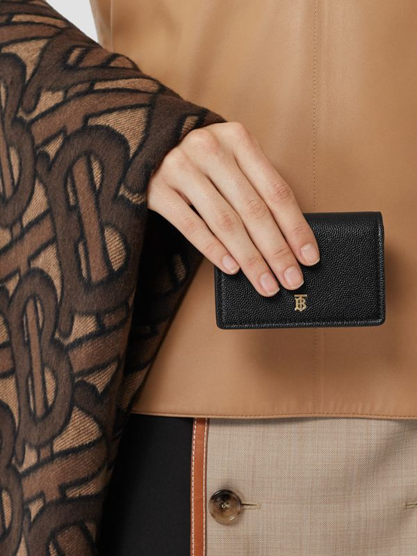 Grainy Leather Card Case with Detachable Strap in Black - Women | Burberry United Kingdom - cell image 2