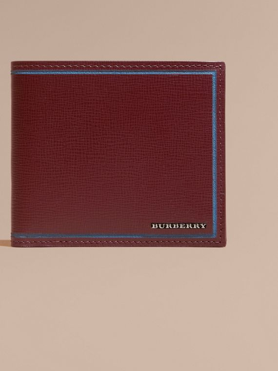 Border Detail London Leather Folding Wallet Burgundy Red - cell image 2