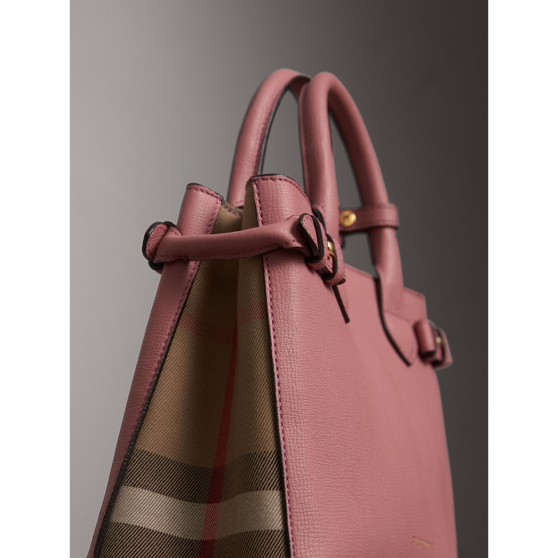 The Small Banner in Leather and House Check in Mauve Pink - Women | Burberry - gallery image 1