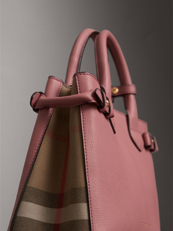 The Small Banner in Leather and House Check in Mauve Pink - Women | Burberry United Kingdom - cell image 1