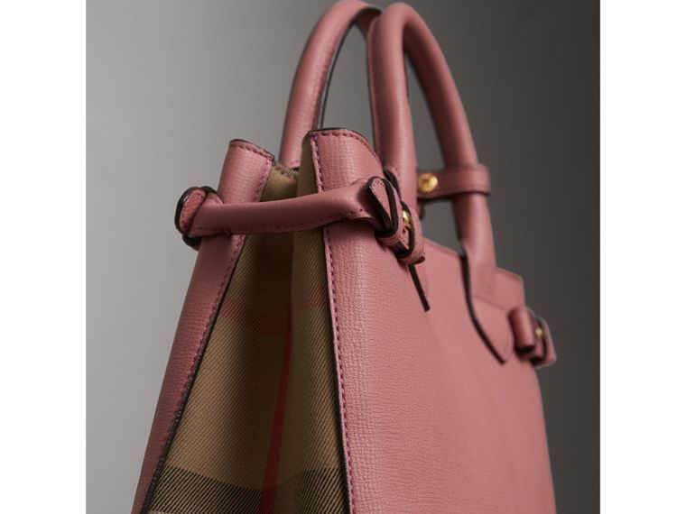 The Small Banner in Leather and House Check in Mauve Pink - Women | Burberry - cell image 1