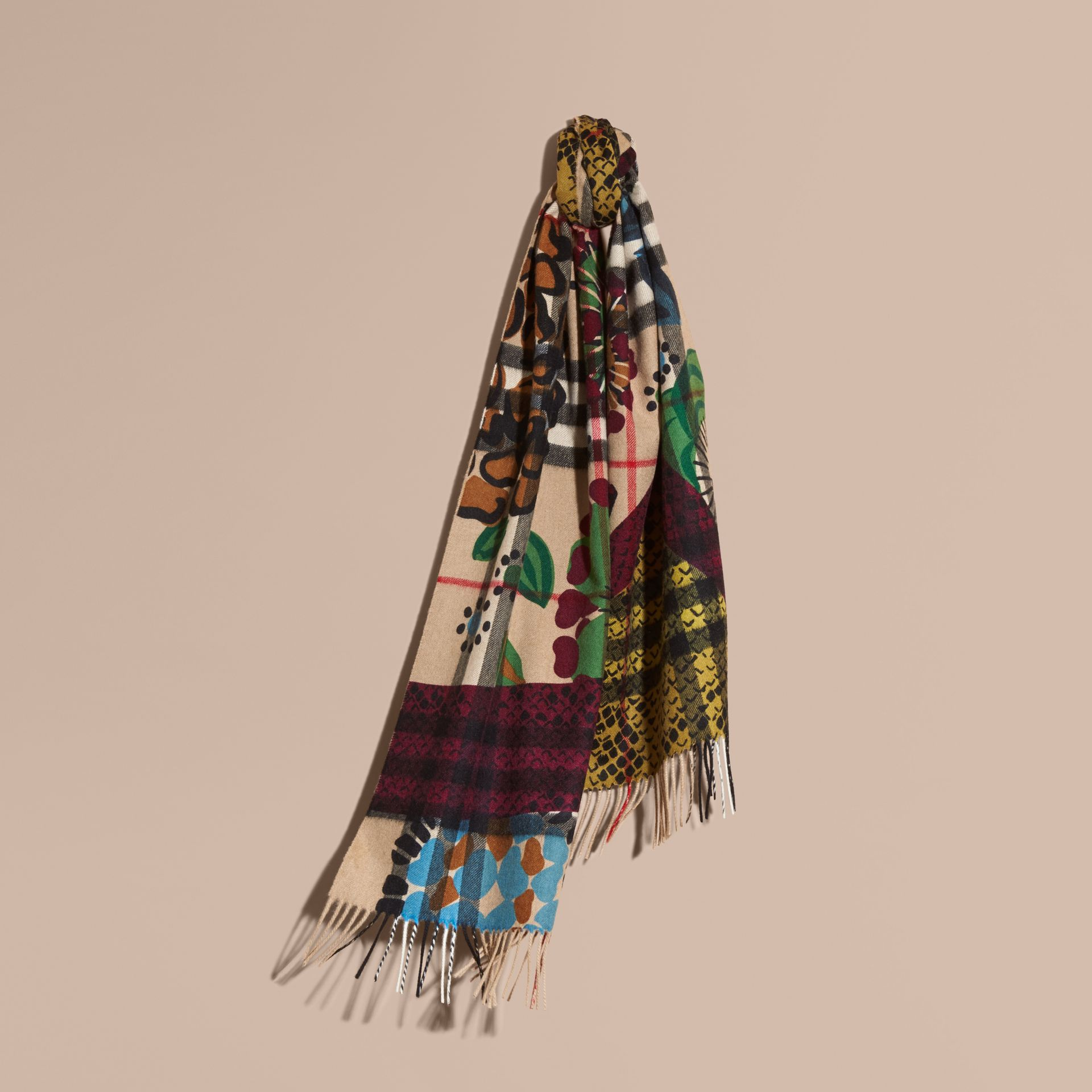 Multicolour The Classic Cashmere Scarf in Check with Patchwork Print - gallery image 6