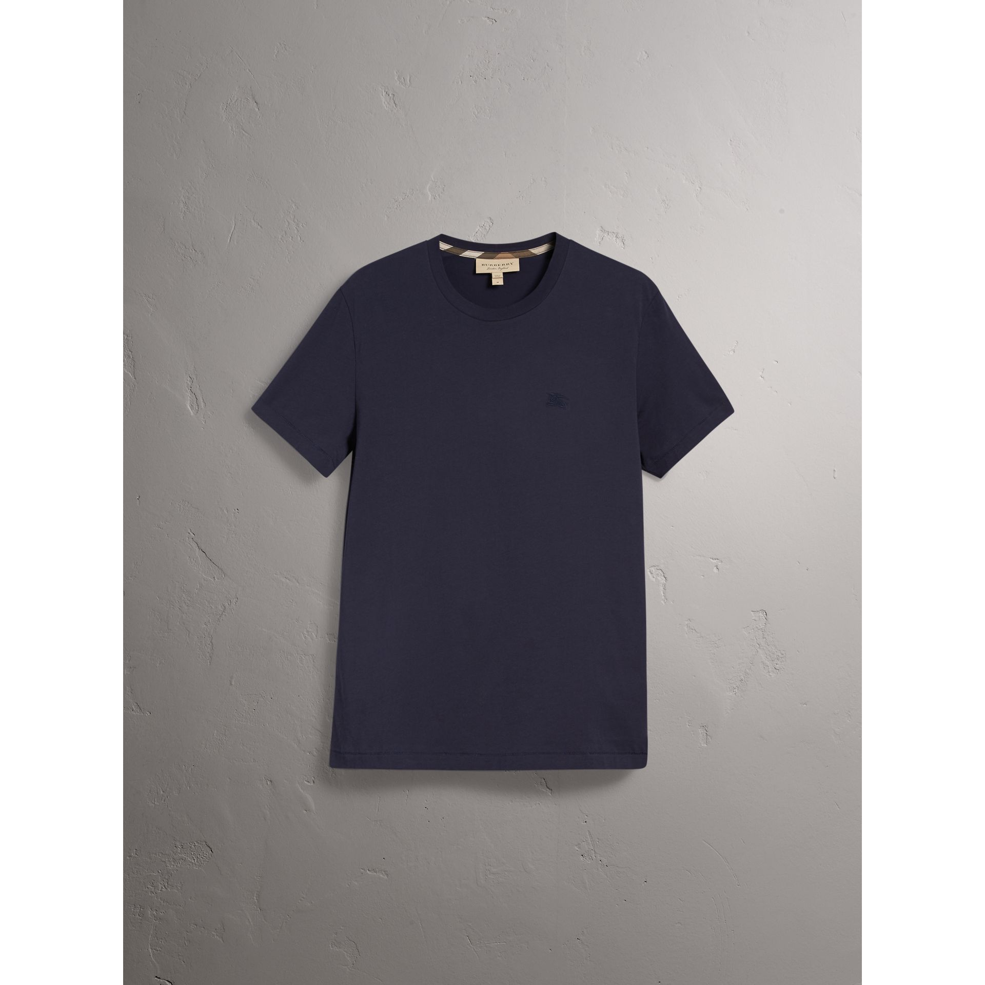 Cotton Jersey T-shirt in Navy - Men | Burberry - gallery image 4