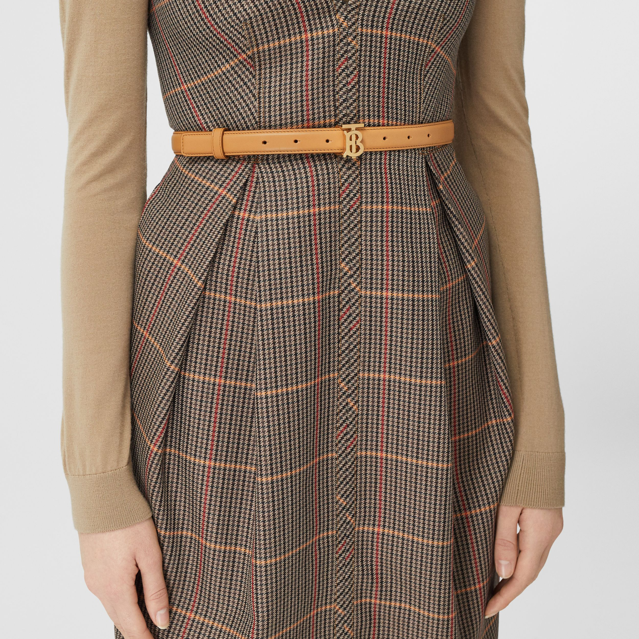 Monogram Motif Leather Belt in Warms Sand - Women | Burberry - 3