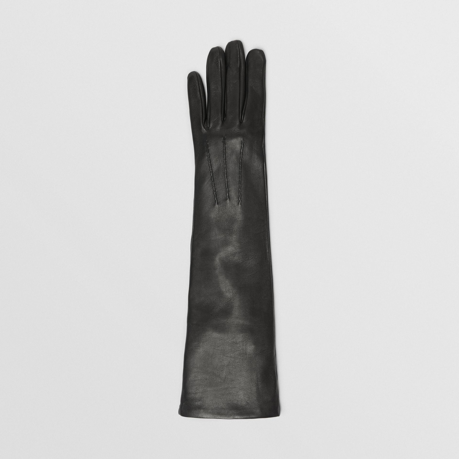 Long Silk-lined Lambskin Gloves in Black - Women | Burberry - gallery image 2