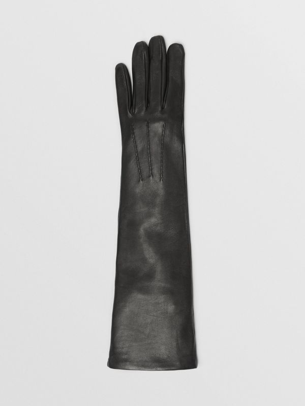 Long Silk-lined Lambskin Gloves in Black - Women | Burberry - cell image 2