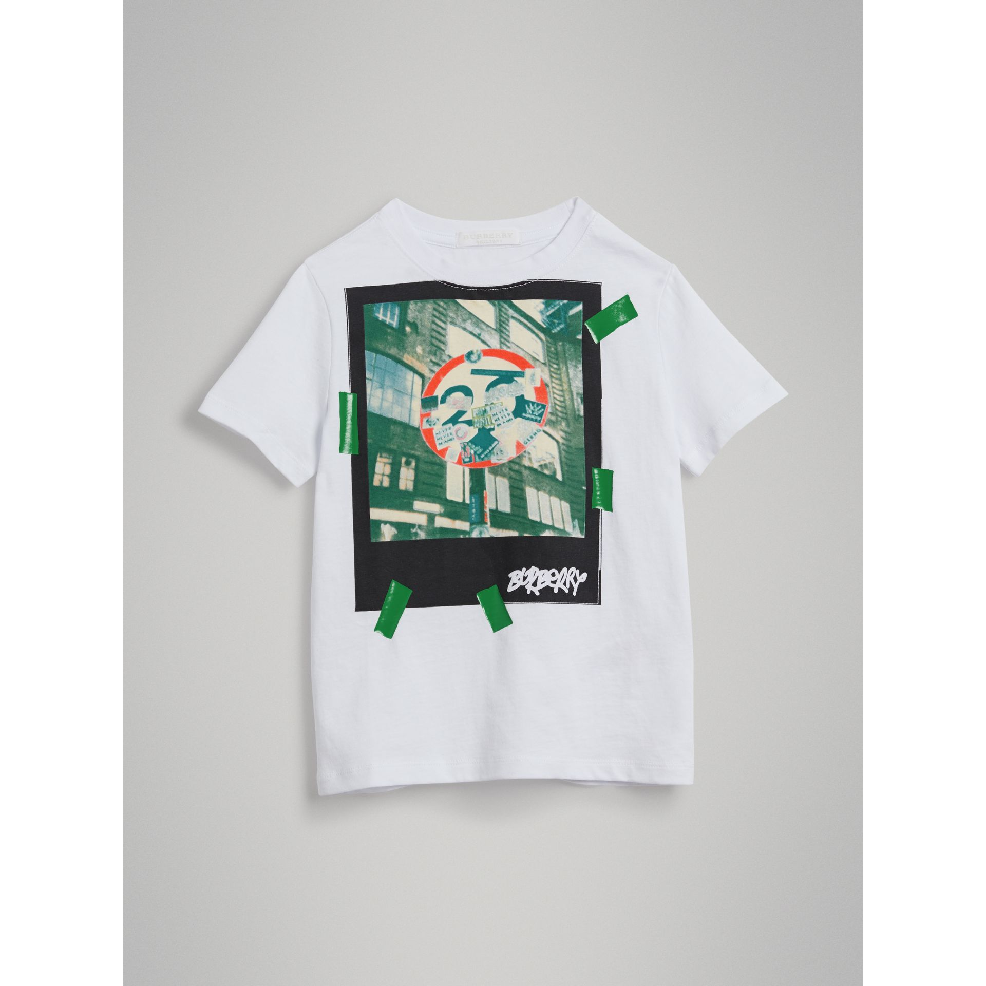 London Polaroid Print Cotton T-shirt in White | Burberry - gallery image 0