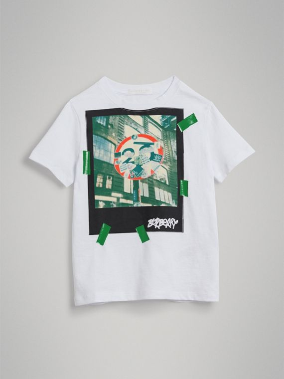 London Polaroid Print Cotton T-shirt in White