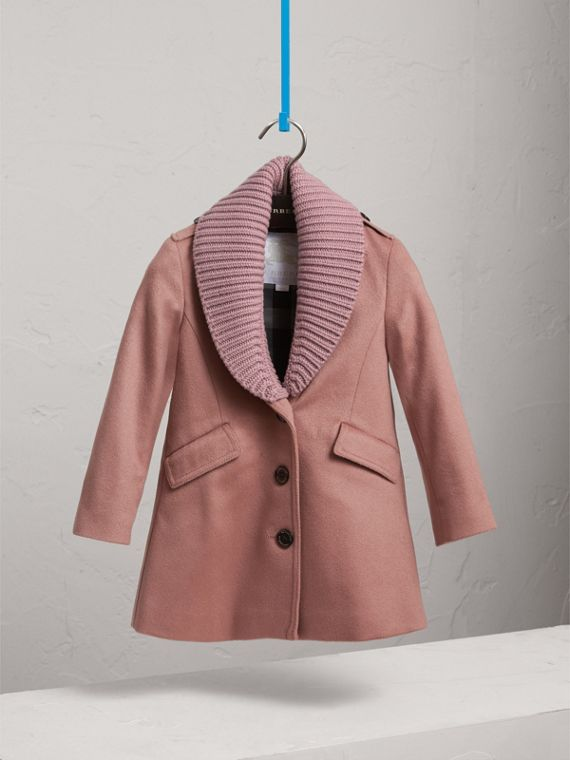 Detachable Rib Knit Collar Tailored Cashmere Coat in Antique Rose