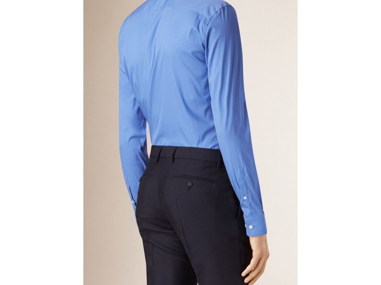 Slim Fit Stretch Cotton Blend Shirt in Mid Blue - Men | Burberry - cell image 1