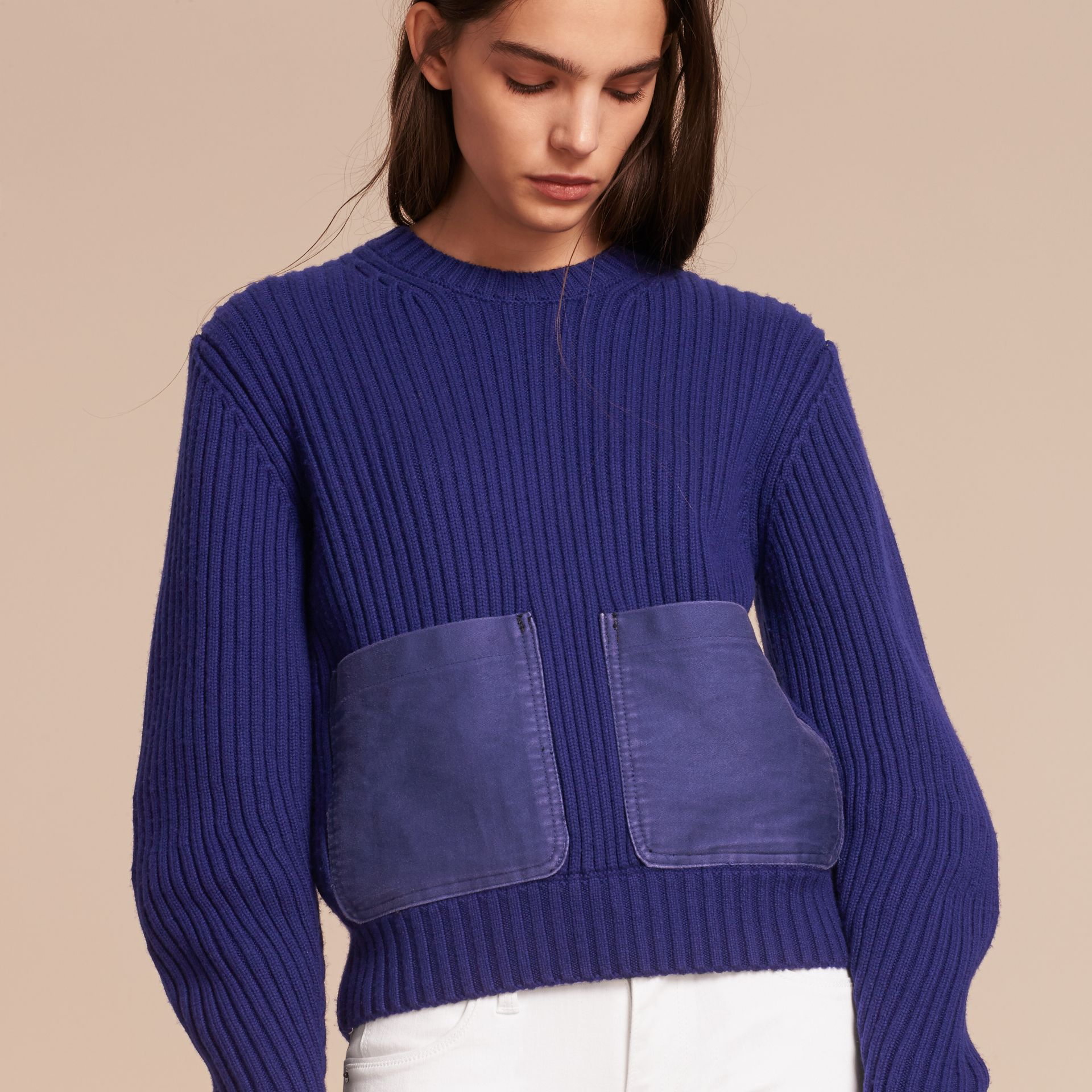 Oversize Pocket Detail Rib Knit Cashmere Cotton Sweater in Bright Navy - Women | Burberry - gallery image 6