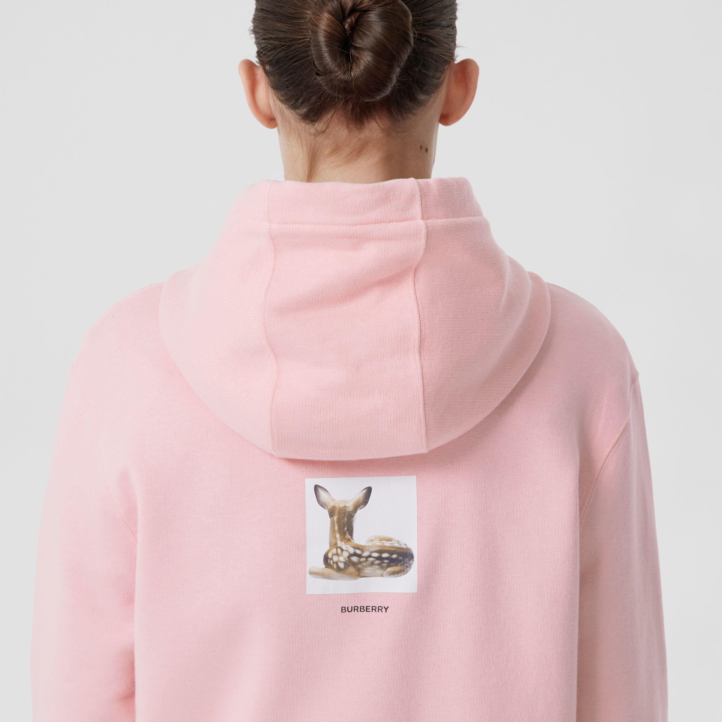 Deer Print Cotton Hoodie in Candy Pink - Women | Burberry United Kingdom - 2
