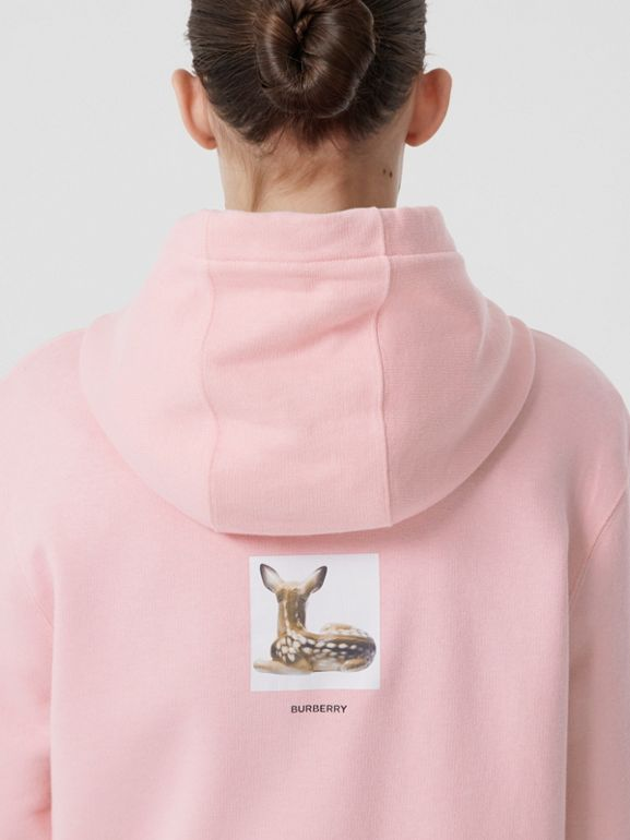 Deer Print Cotton Hoodie in Candy Pink - Women | Burberry Hong Kong S.A.R - cell image 1