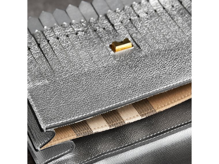 Brogue Detail Metallic Leather Crossbody Bag in Silver - Women | Burberry United Kingdom - cell image 4