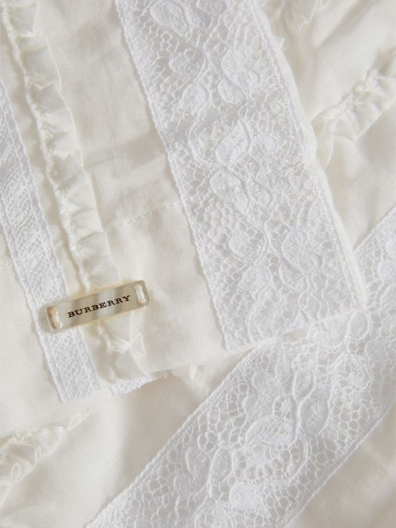 English Lace Detail Cotton High-neck Dress in Natural White | Burberry - cell image 1