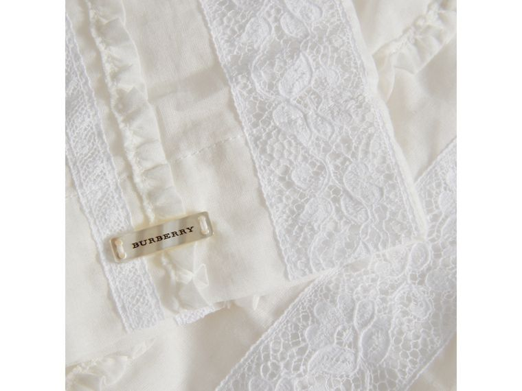 English Lace Detail Cotton High-neck Dress in Natural White - Girl | Burberry - cell image 1