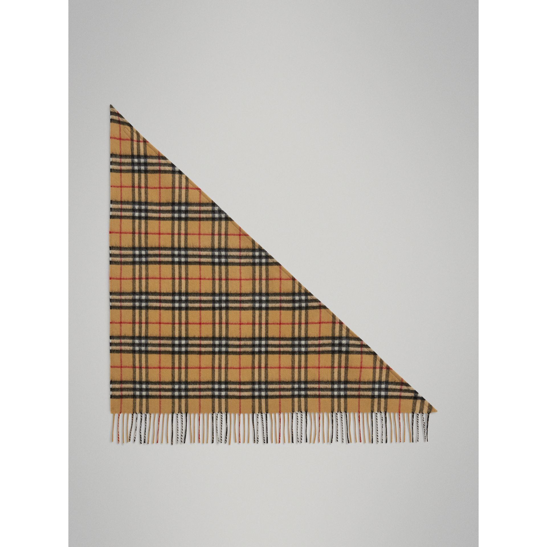 The Mini Burberry Bandana in Vintage Check Cashmere in Antique Yellow | Burberry Singapore - gallery image 2