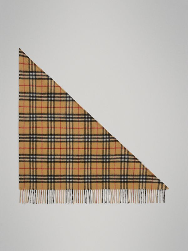 The Mini Burberry Bandana in Vintage Check Cashmere in Antique Yellow | Burberry - cell image 2