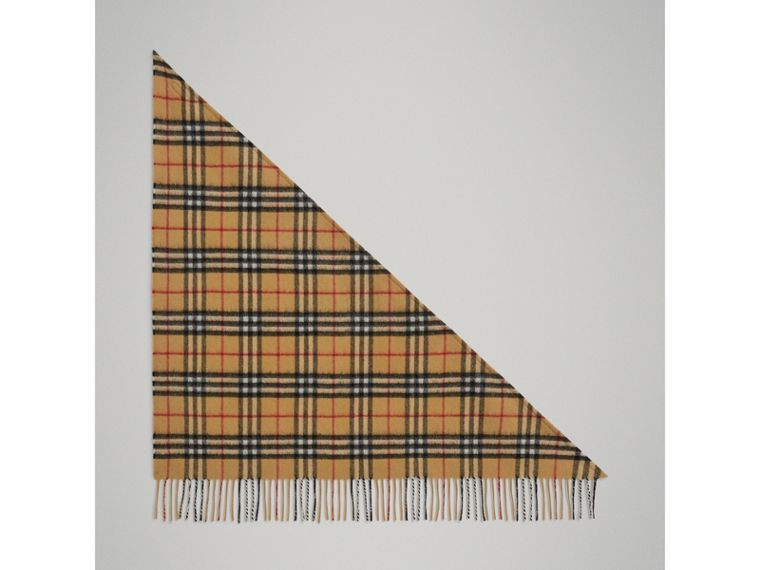 The Mini Burberry Bandana in Vintage Check Cashmere in Antique Yellow | Burberry Canada - cell image 2