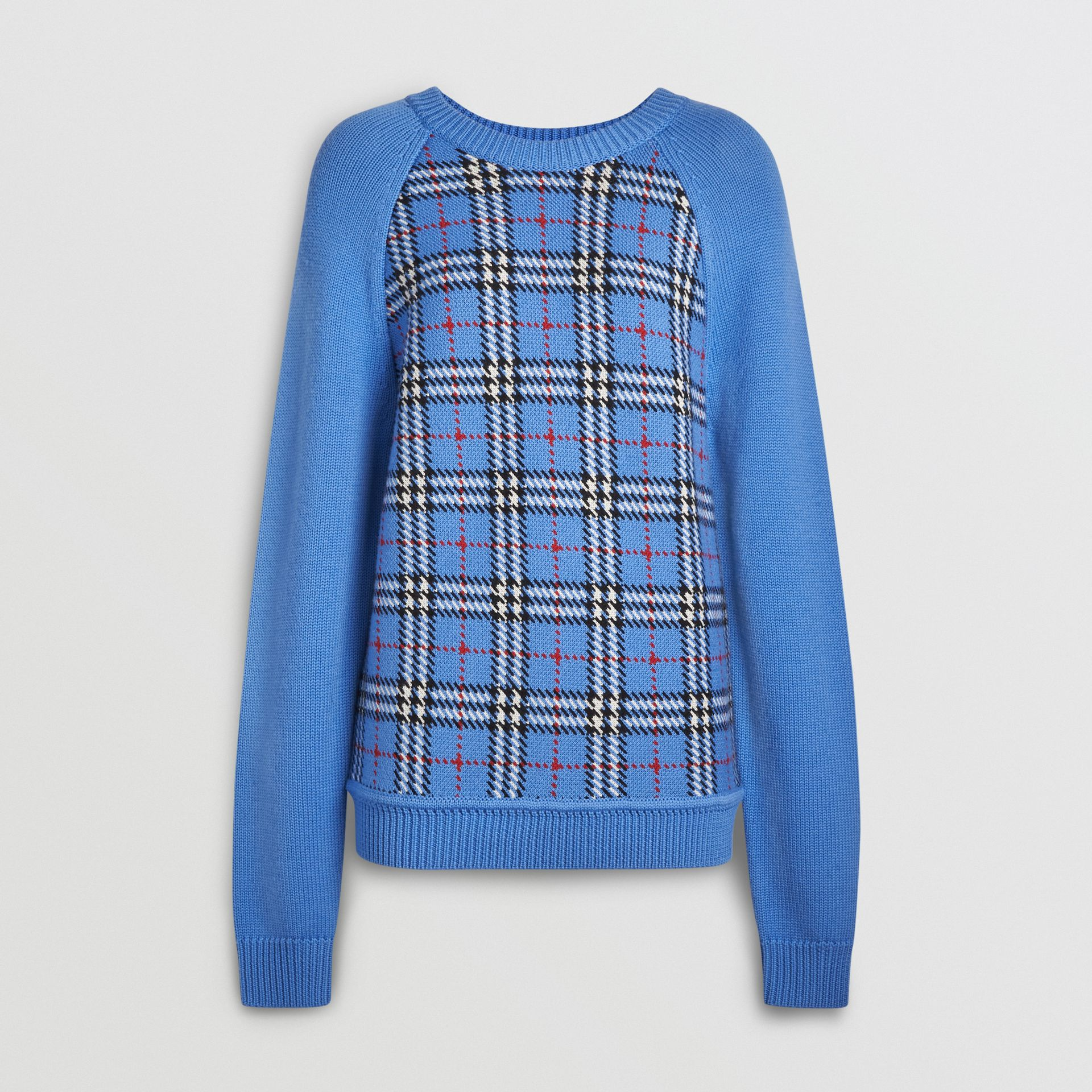Check Wool Jacquard Sweater in Sky Blue - Women | Burberry - gallery image 3