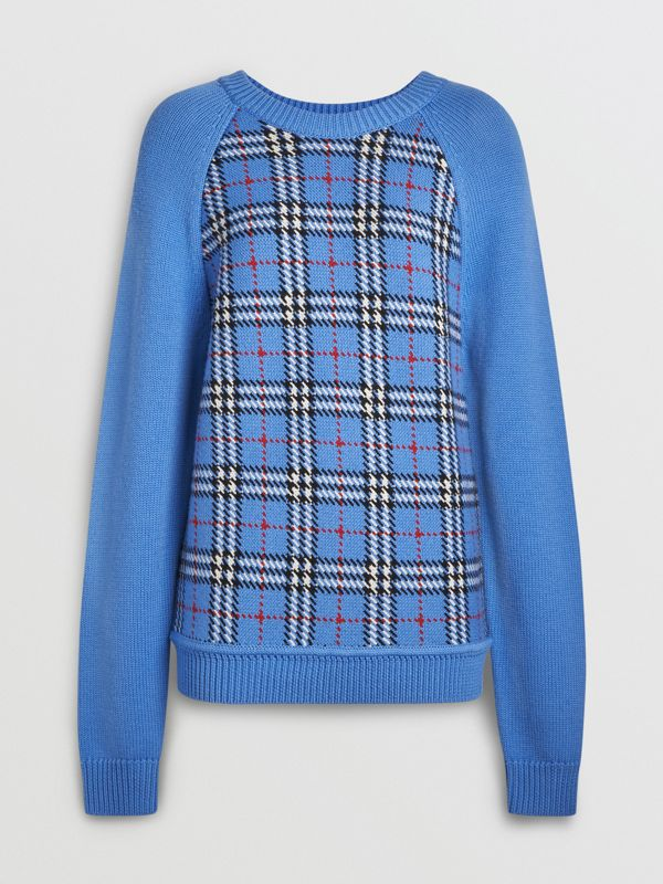 Check Wool Jacquard Sweater in Sky Blue - Women | Burberry - cell image 3