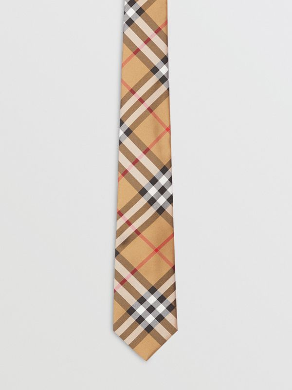 Modern Cut Vintage Check Silk Tie in Antique Yellow - Men | Burberry United Kingdom - cell image 3