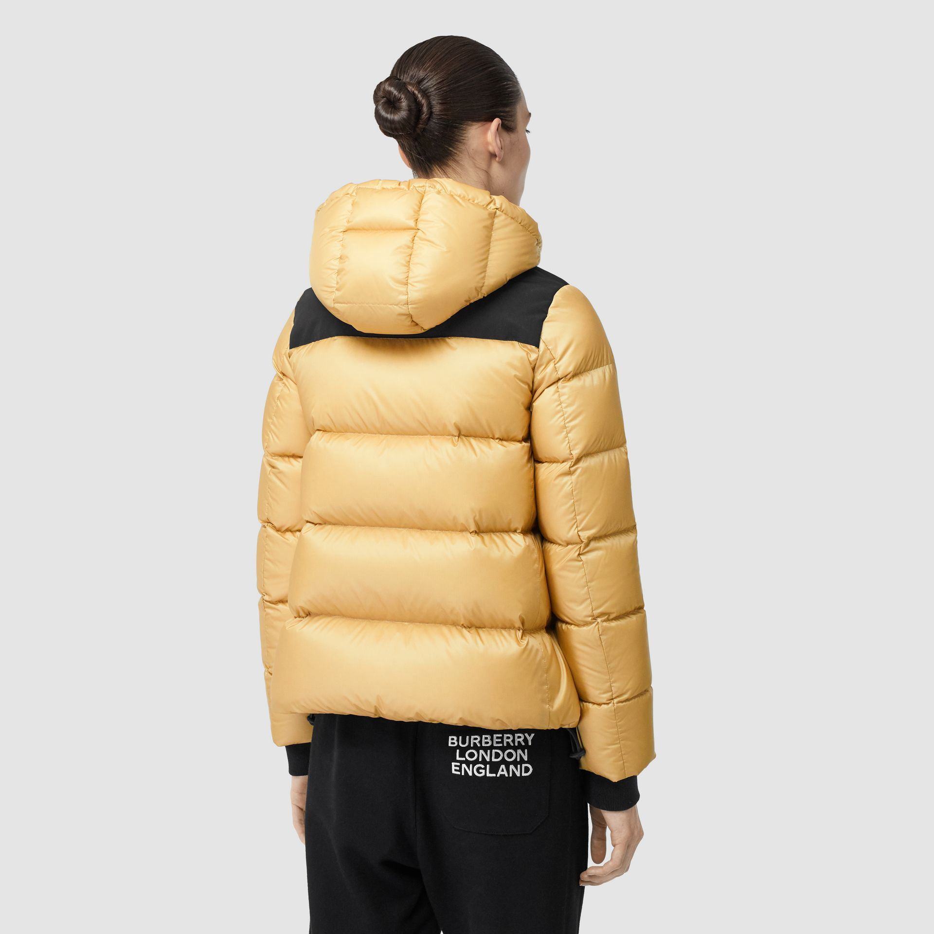Logo Graphic Hooded Puffer Jacket in Pale Stone - Women | Burberry - gallery image 2