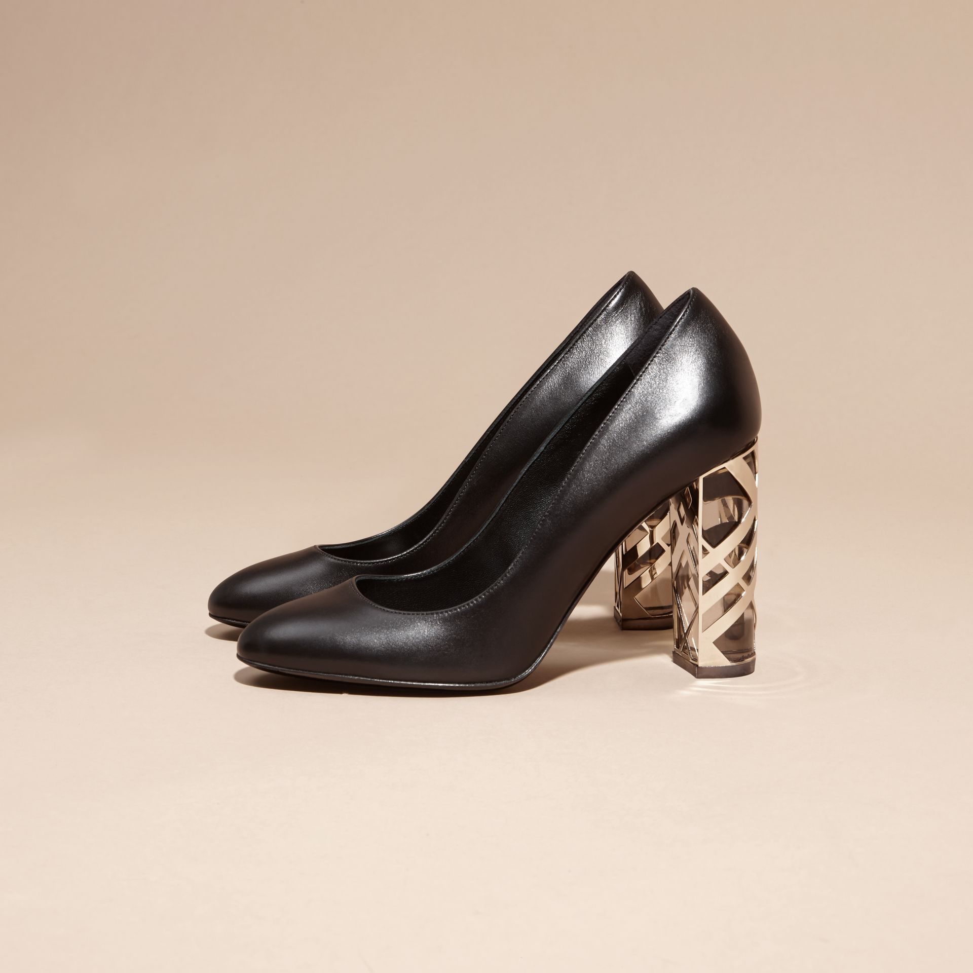 Black Check Heel Leather Pumps Black - gallery image 3