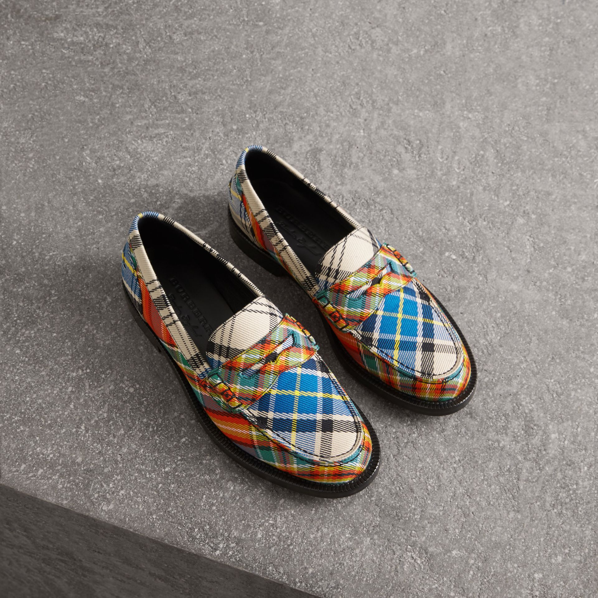 Tartan Cotton Penny Loafers in Poppy Orange - Women | Burberry - gallery image 0