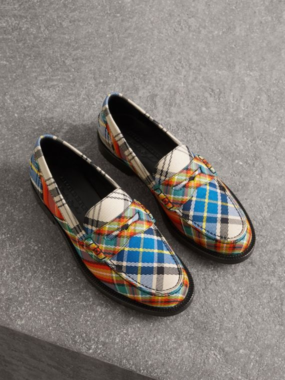 Tartan Cotton Penny Loafers in Poppy Orange