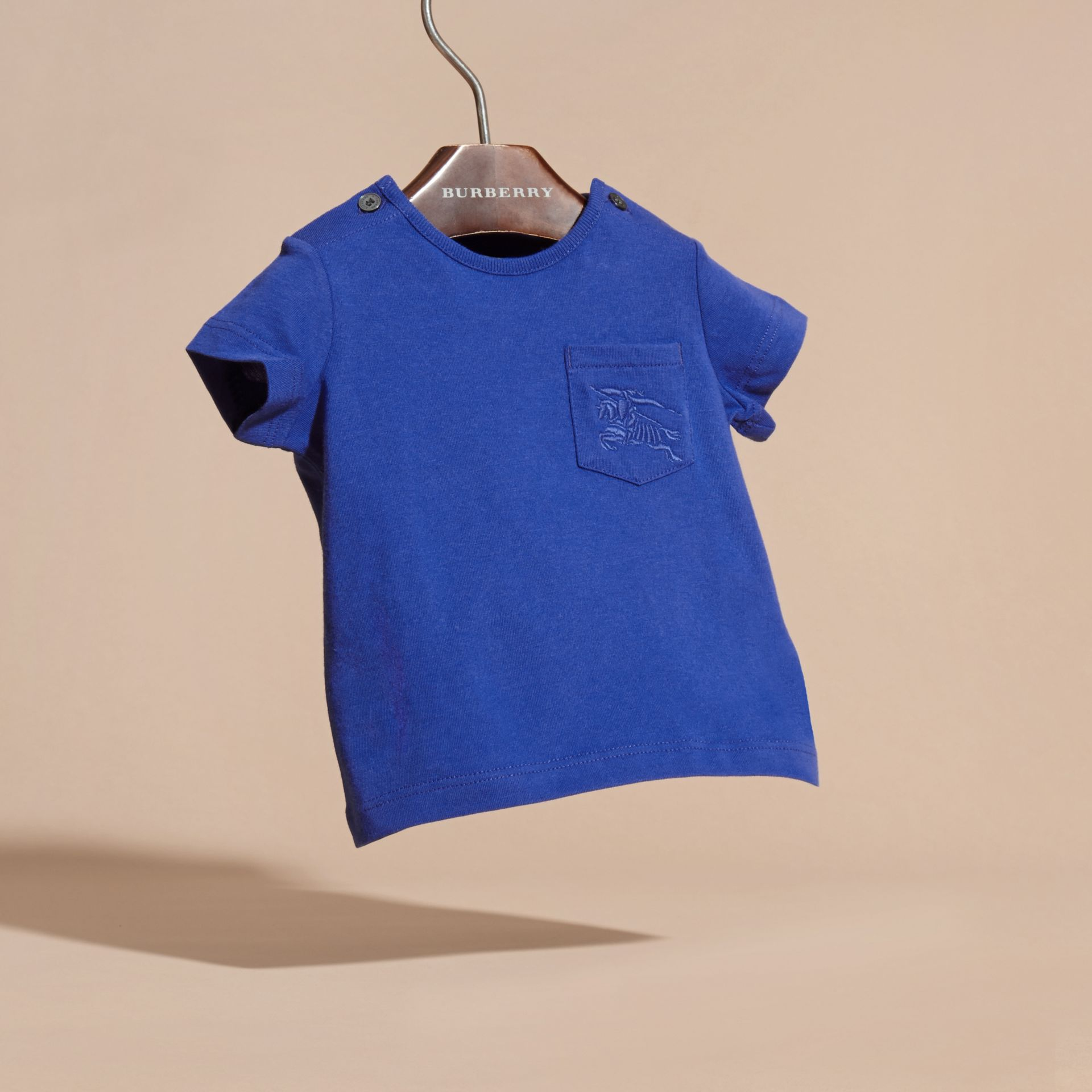 Bright lapis Crew Neck Cotton T-Shirt Bright Lapis - gallery image 3