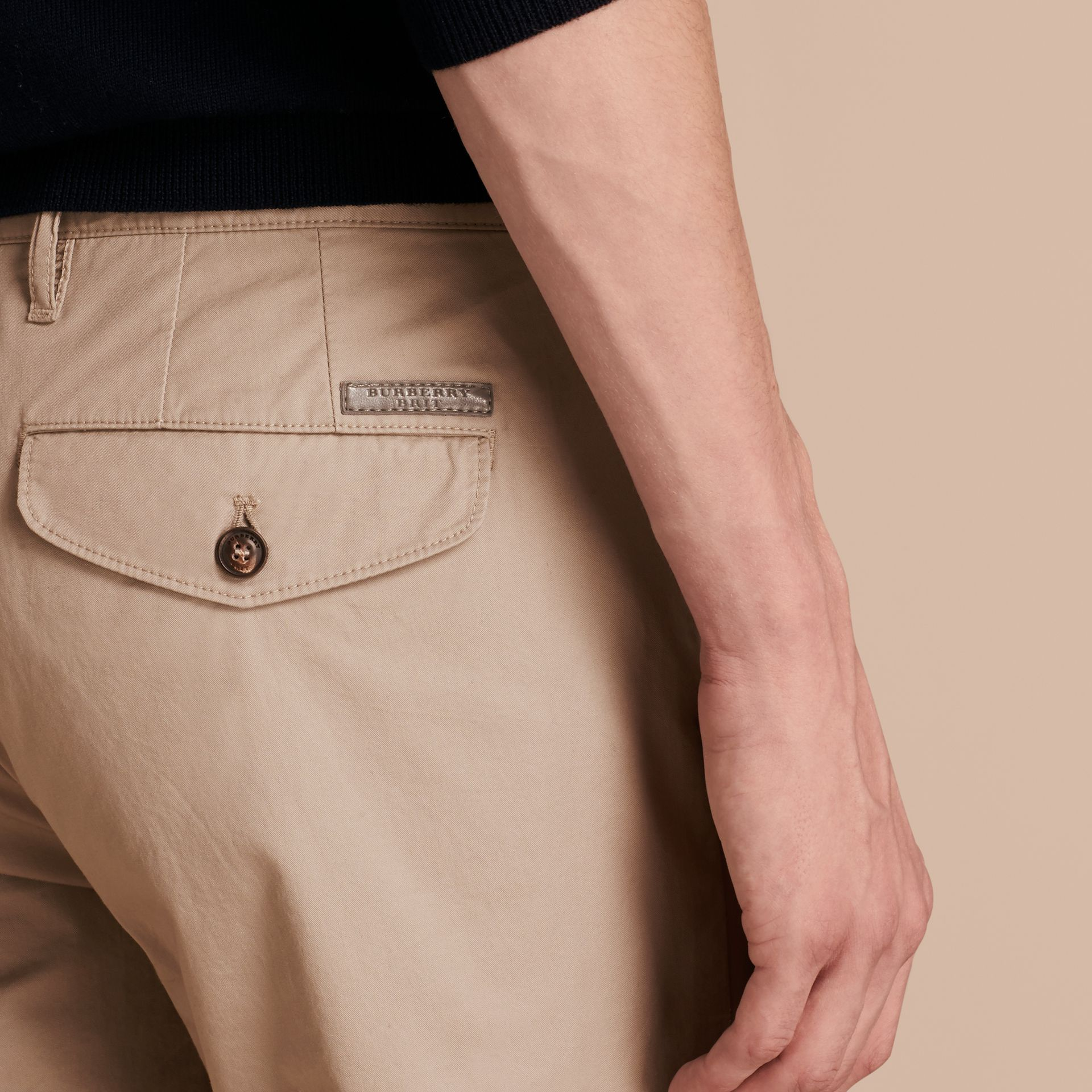 Slim Fit Cotton Chinos in Taupe - Men | Burberry - gallery image 6
