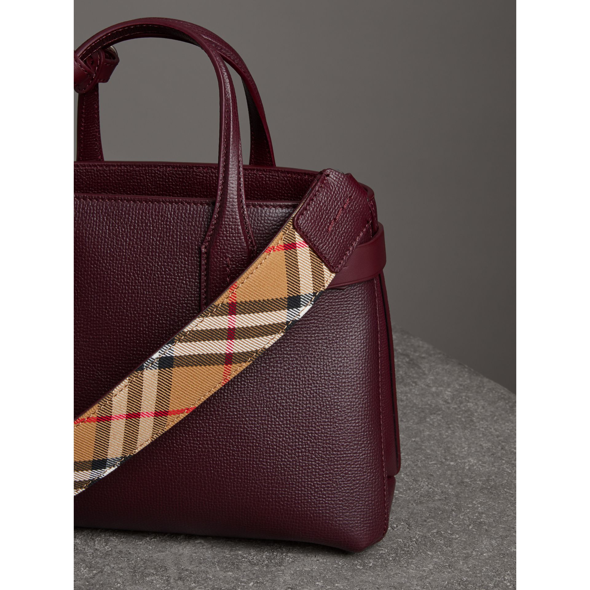 The Small Banner in Leather in Mahogany Red - Women | Burberry - gallery image 4