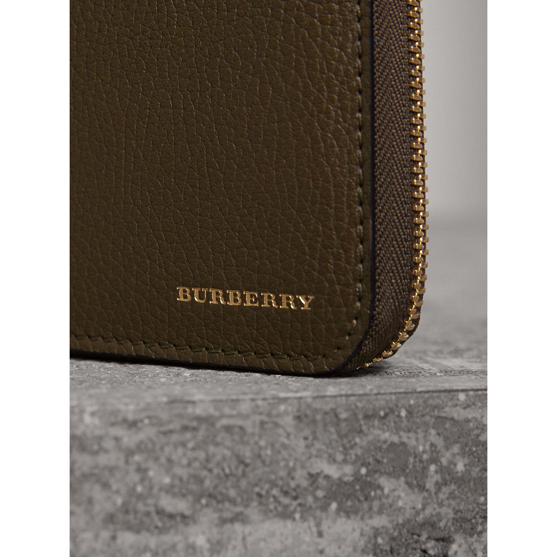 House Check and Grainy Leather Ziparound Wallet in Sage - Men | Burberry - gallery image 1