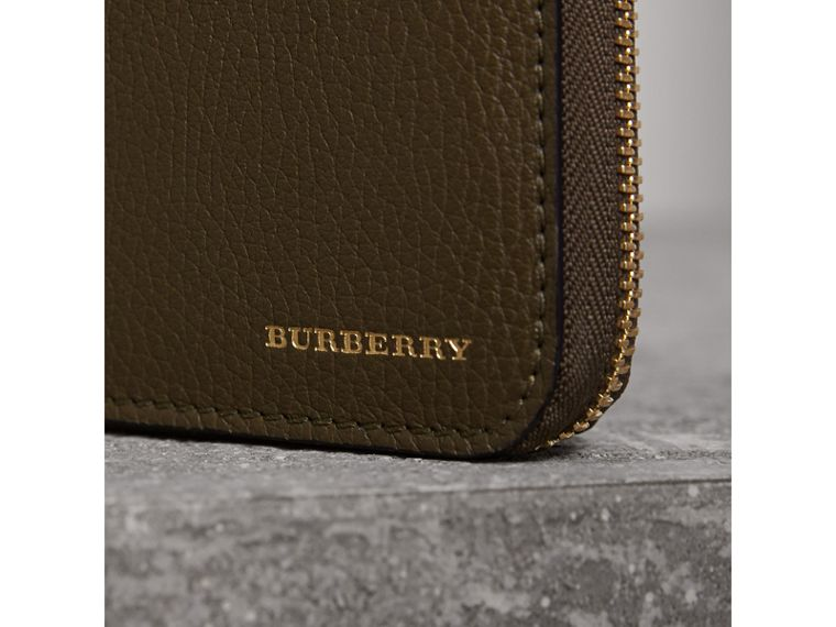 House Check and Grainy Leather Ziparound Wallet in Sage - Men | Burberry - cell image 1