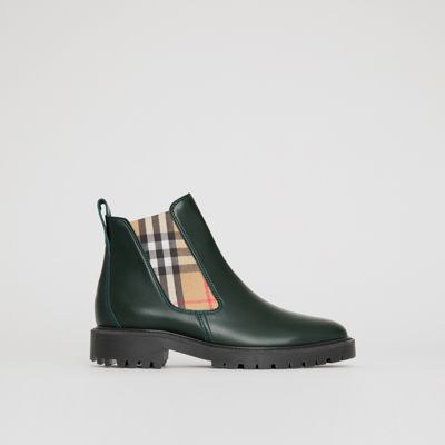Vintage Check Detail Leather Chelsea Boots in Green