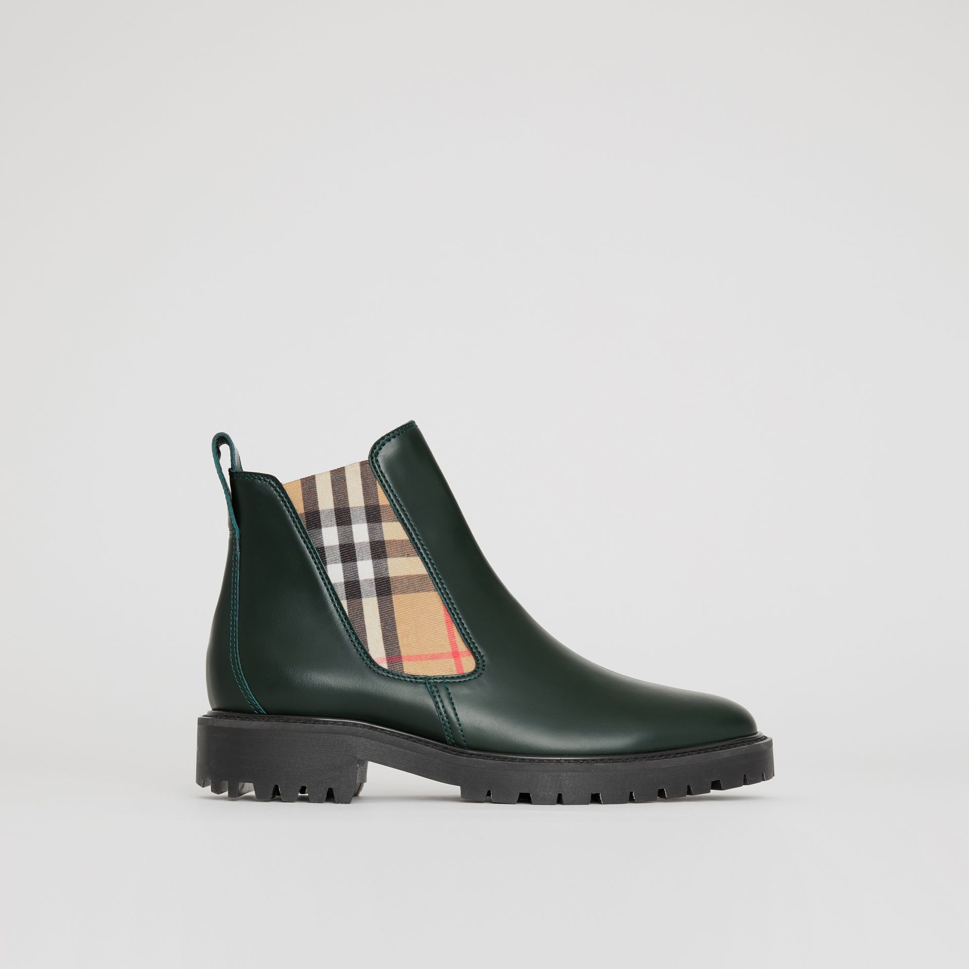 Vintage Check Detail Leather Chelsea Boots in Bottle Green - Women | Burberry - gallery image 0