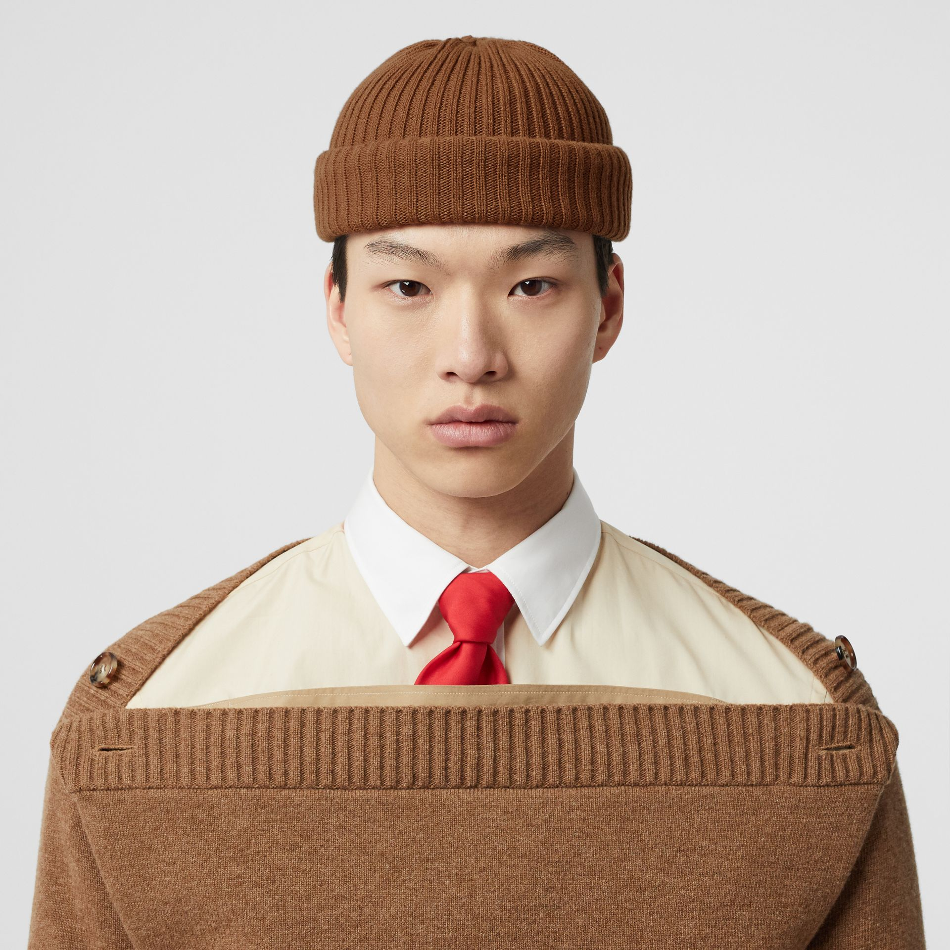 Rib Knit Wool Beanie in Maple | Burberry - gallery image 3