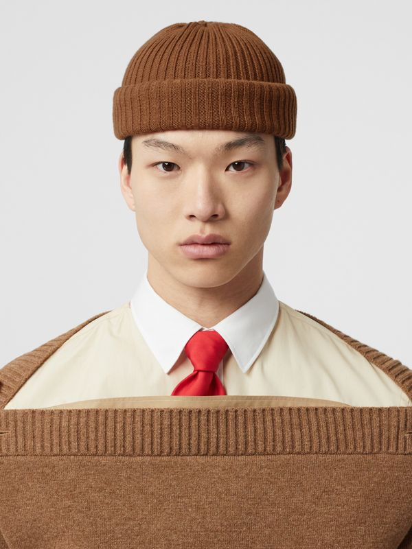 Rib Knit Wool Beanie in Maple | Burberry - cell image 3