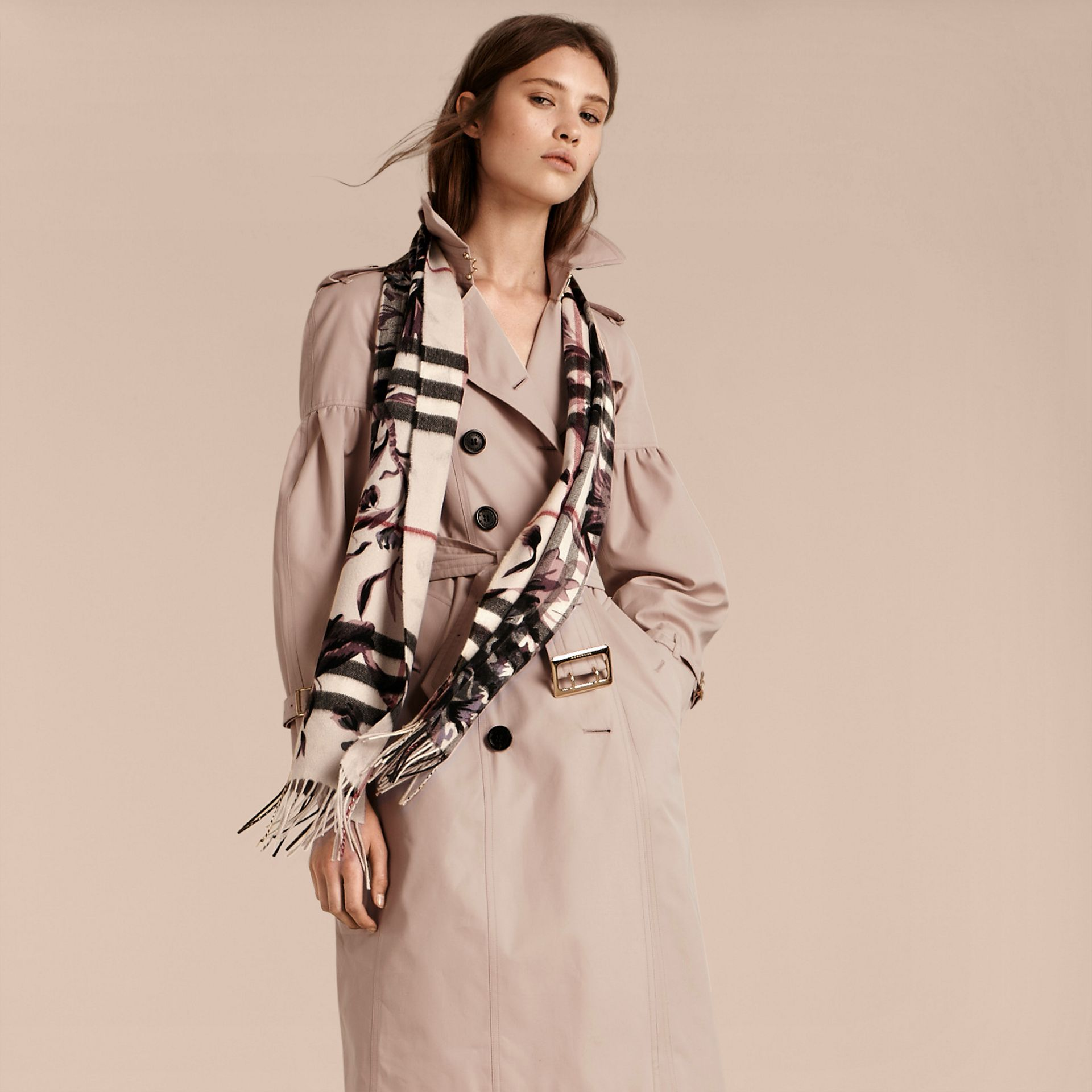 The Classic Cashmere Scarf in Check with Peony Rose Print - gallery image 3