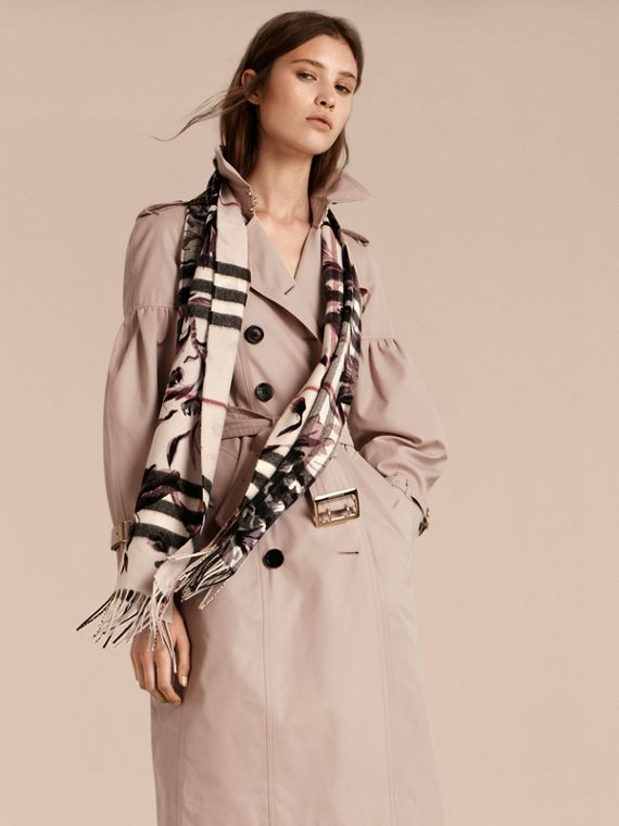 The Classic Cashmere Scarf in Check with Peony Rose Print - cell image 2