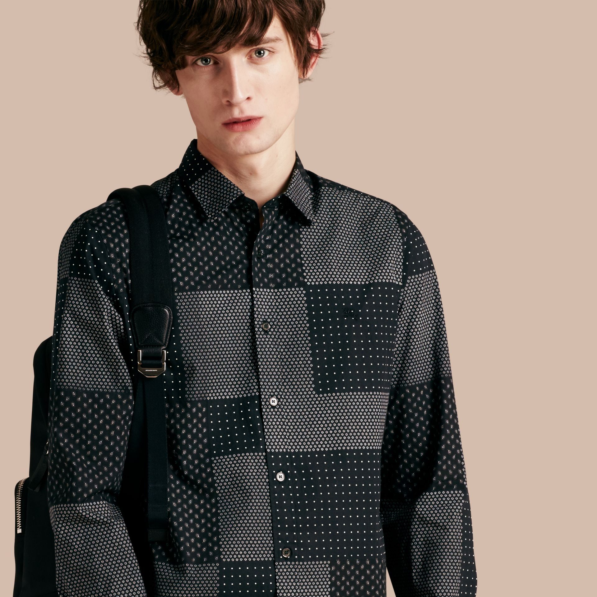 Black Patchwork Print Cotton Shirt Black - gallery image 1