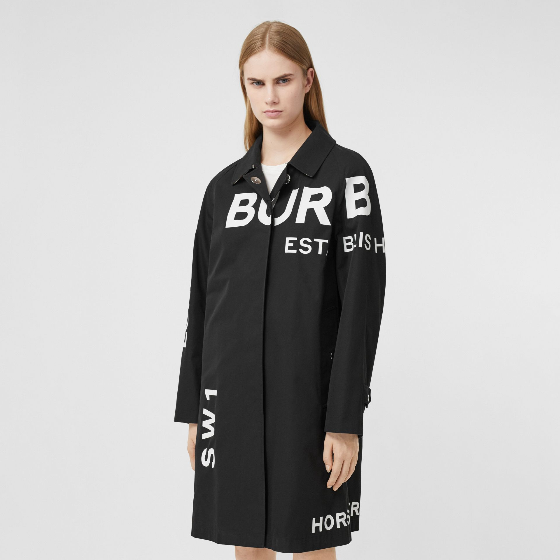 Horseferry Print Cotton Gabardine Car Coat in Black - Women | Burberry Hong Kong S.A.R. - gallery image 5